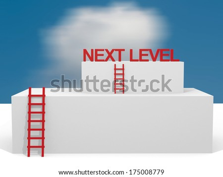 Creative abstract business progress, development, success, next leval, leadership and competition concept: group of blue cubes with ladders - stock photo