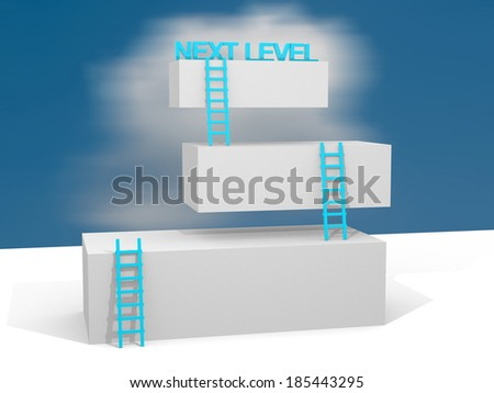 Creative abstract business progress, development, success, next leval, leadership and competition concept: group of blue cubes with ladders