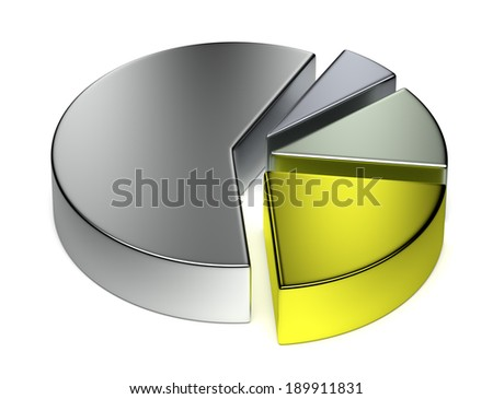 Creative abstract business statistics, financial analysis, precious metal trading concept: separated metallic 3D pie chart on white background - stock photo