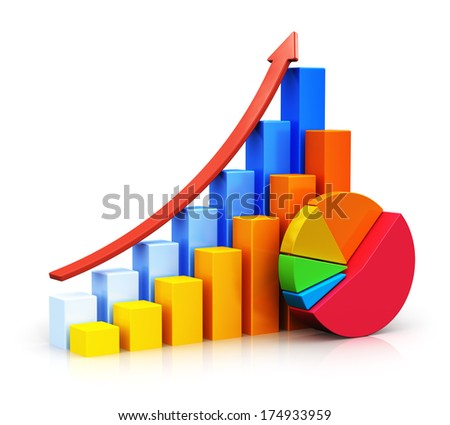 Creative abstract business success, financial growth and development concept: color growing bar graphs with red rising arrow and colorful pie chart isolated on white background with reflection effect - stock photo