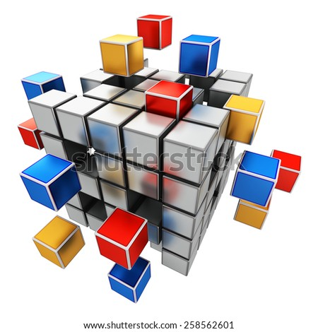 Creative abstract business teamwork, internet and communication concept: colorful cubic structure with assembling metallic cubes isolated on white background - stock photo
