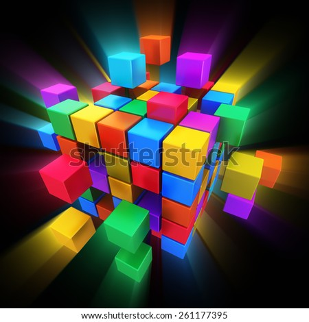 Creative abstract business teamwork, internet, multimedia and communication concept: colorful cubic structure with assembling color cubes on black background with glowing effect - stock photo