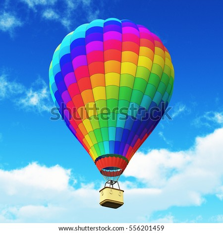 Creative abstract colorful travel, tourism aerial transportation and freedom concept: 3D render illustration of color rainbow hot air balloon with gondola basket outdoors in the blue sky with clouds