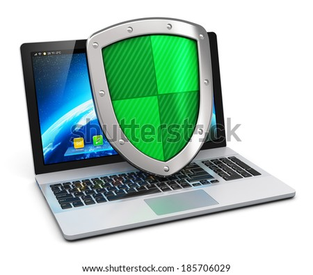 Creative abstract computer internet security networking and business communication antivirus concept: modern laptop with protection shield isolated on white background - stock photo