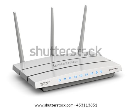 Creative abstract computer networking technology and PC web telecommunication business concept: 3D render of modern white broadband internet router switch modem isolated on white background - stock photo