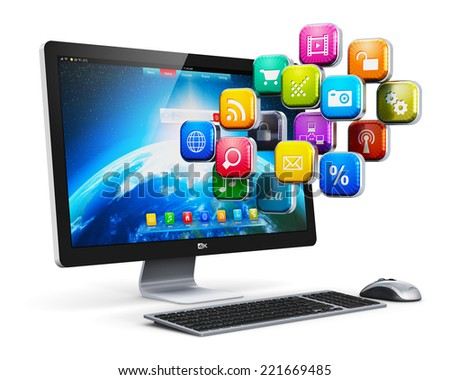 Creative abstract computer web applications, software and internet business communication technology concept: desktop PC with cloud of color program icons isolated on white background - stock photo