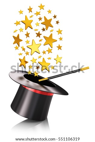 Creative abstract 3D render illustration of the black silk magic hat with red ribbon and magic wand stick with cloud of shiny gold stars isolated on white background with reflection effect