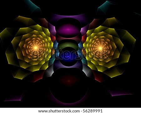 Creative abstract design of two multicolored spirals. - stock photo