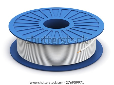Creative abstract electricity and technology engineering industrial business concept: blue plastic spool with white electric copper power cable isolated on white background - stock photo