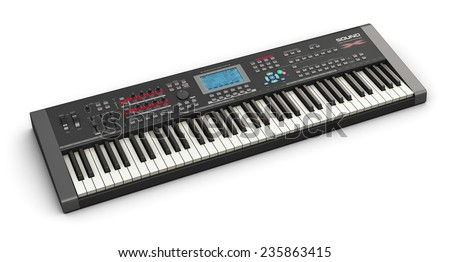 Creative abstract electronic music instrument and art creation concept: black professional digital musical piano synthesizer isolated on white background - stock photo