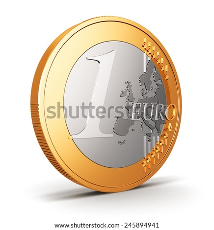 Creative abstract financial success, banking, accounting and money concept: one Euro coin isolated on white background - stock photo