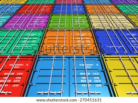 Creative abstract freight transportation, shipment and logistics business industry concept: background from group of color metal cargo containers - stock photo