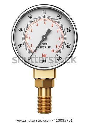 Creative abstract fuel industry manufacturing business concept: 3D render illustration of metal steel high pressure gauge meter or measuring manometer with brass fitting isolated on white background - stock photo