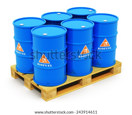 Creative abstract fuel, oil and gas industry and ecology protection technology business concept: blue metal barrels or drums with biofuel on wooden shipping pallet isolated on white background - stock photo