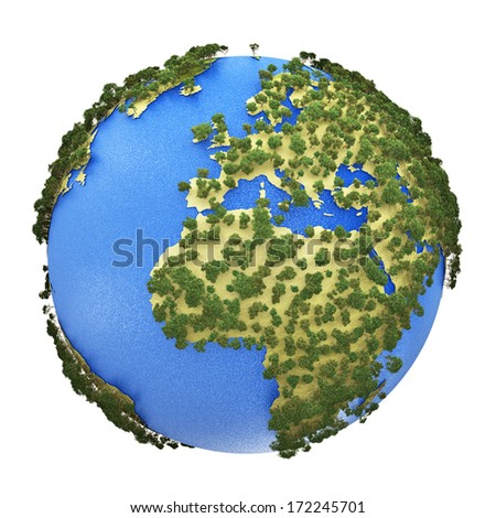 Creative abstract global ecology and environment protection business concept: mini green Earth planet globe with world map isolated on white background - stock photo