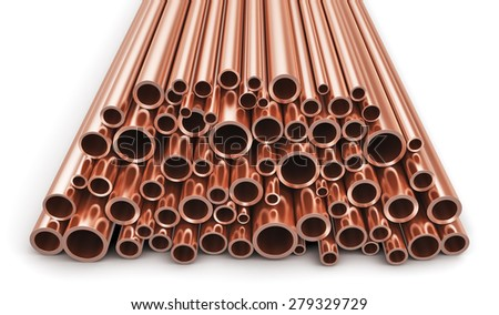 Creative abstract heavy non-ferrous metallurgical industry and industrial manufacturing business production concept: heap of shiny metal copper pipes isolated on white background - stock photo