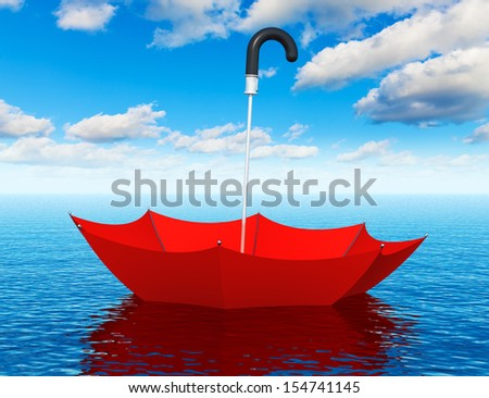 Creative abstract help, first aid, support and assistance corporate business concept: red umbrella floating in the blue sea water - stock photo
