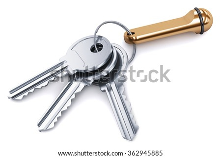 Creative abstract home security and house safety business success concept: bunch of shiny metal keys with ring and brass keychain isolated on white background - stock photo