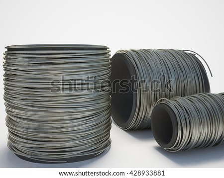 Creative abstract illustration: many coil auminium, duralumin wire. Industrial three-dimensional image. 3D illustration on a white background with shadow.