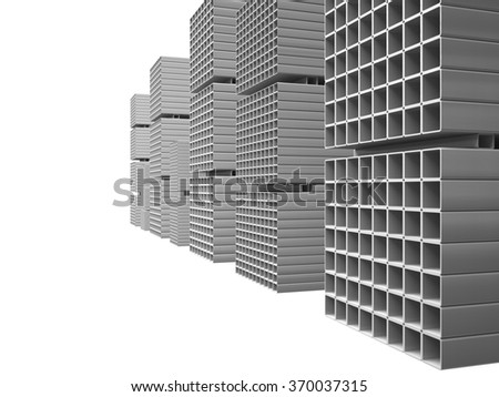 Creative abstract illustration: many shiny steel pipes isolated on white, industrial three-dimensional image illustration. Warehouse metal square tubes. - stock photo