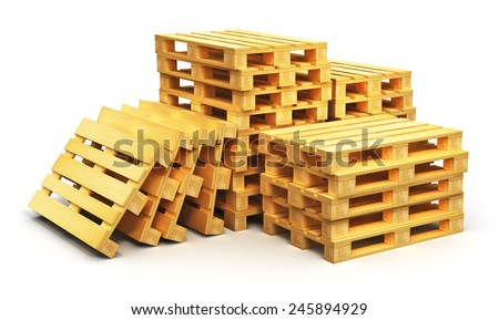 Creative abstract logistics, cargo transportation and freight shipment business commercial industry concept: stacks of wooden shipping pallets isolated on white background - stock photo