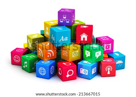 Creative abstract mobile applications, media computer technology and internet networking web communication concept: heap of colorful cubes with color app icons or buttons isolated on white background - stock photo