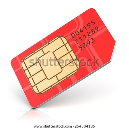 Creative abstract mobile telecommunication, wireless technology and mobility business communication internet concept: red SIM card for mobile phone or smartphone isolated on white background - stock photo
