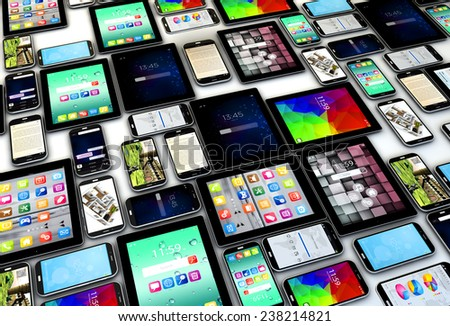Creative abstract mobility and digital wireless communication concept: group of tablet PC and modern smartphones or mobile phones  - stock photo