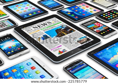 Creative abstract mobility and digital wireless communication technology business concept: group of tablet computer PC and modern touchscreen smartphones or mobile phones isolated on white background - stock photo