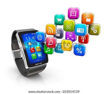 Creative abstract mobility business communications internet concept: smart watch or clock with colorful interface and cloud of color application icons isolated on white background with reflection
