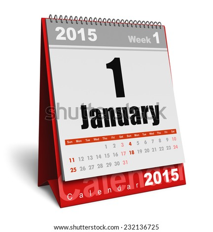 Creative abstract New Year 2015 beginning celebration business concept: red office desktop January 2015 month calendar isolated on white background - stock photo