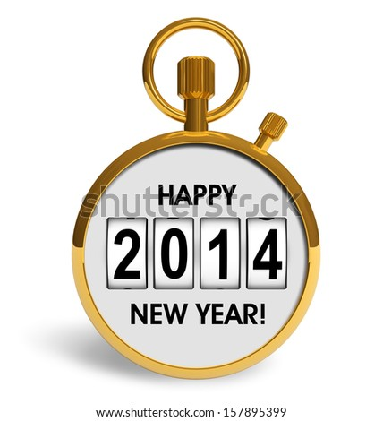 Creative abstract New Year 2014 beginning celebration concept: golden stopwatch with congratulation text isolated on white background