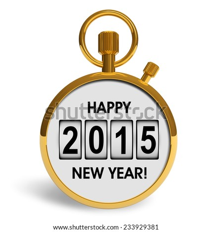 Creative abstract New Year 2015 beginning celebration concept: golden stopwatch with congratulation text isolated on white background