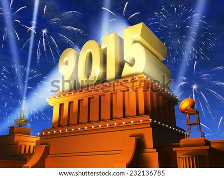 Creative abstract New Year 2015 celebration concept: shiny golden 2015 text on pedestal at night with fireworks in cinema style - stock photo