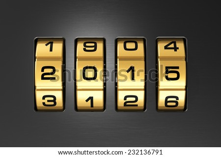 Creative abstract New Year 2015 concept: macro view of combination lock with 2015 code text - stock photo