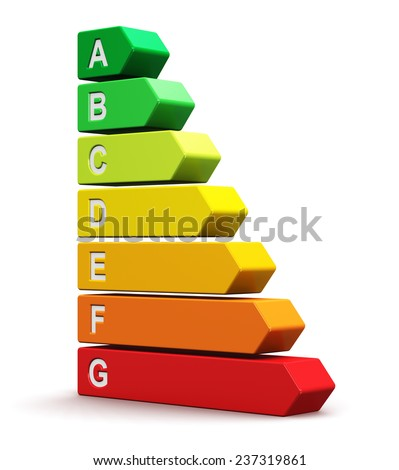 Creative abstract power saving technology and green nature environment conservation ecology business concept: color energy efficiency rating comparison scale isolated on white background - stock photo