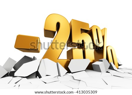 Creative abstract sale and discount business commercial advertisement concept: 3D render illustration of golden minus 25 percent price cut off text on cracked surface isolated on white background - stock photo