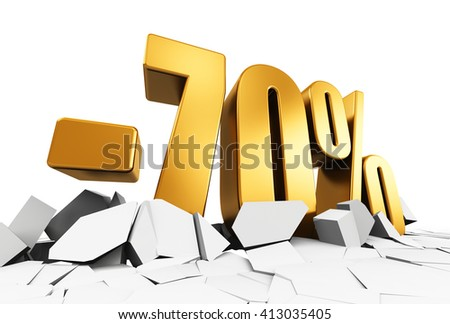 Creative abstract sale and discount business commercial advertisement concept: 3D render illustration of golden minus 70 percent price cut off text on cracked surface isolated on white background