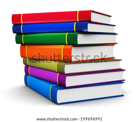 Creative abstract science, knowledge, education, back to school, business and corporate office life concept: stack of color hardcovers books isolated on white background - stock photo