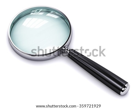 Creative abstract search, seek and find information business office technology internet concept: metal shiny magnifying glass or magnifier isolated on white background - stock photo