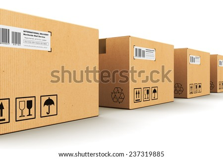 Creative abstract shipping, logistics and retail parcel goods delivery commercial business concept: row of corrugated paper cardboard box packages isolated on white background - stock photo