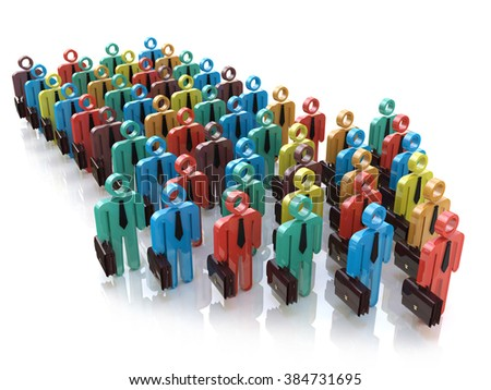 Creative abstract social communication network, business corporate teamwork and leadership concept: color people figures in arrow form moving on their way object isolated on white background - stock photo