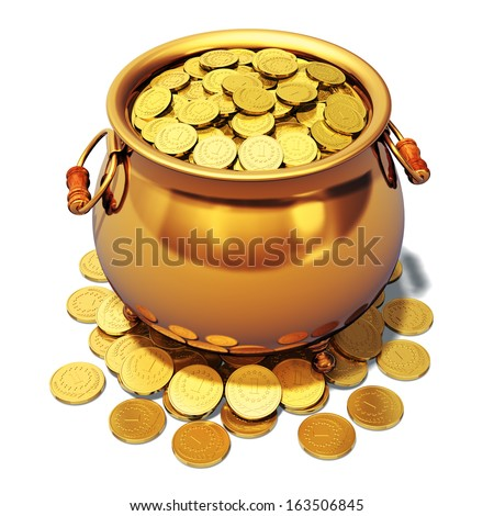 Creative abstract St. Patrick's Day traditional Irish holiday celebration, business banking success and financial wealth concept: pot full of shiny golden coins isolated on white background - stock photo