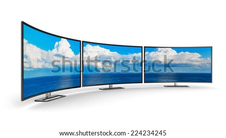 Creative abstract television electronics technology business concept: panoramic group of modern curved TV display screens or computer PC monitors isolated on white background - stock photo