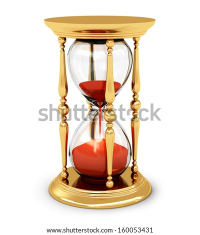 Creative abstract time and vision perspective business concept: golden vintage hourglass or sandglass isolated on white background - stock photo