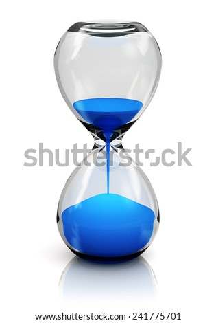 Creative abstract time and vision perspective business concept: hourglass or sandglass with blue sand isolated on white background with reflection effect - stock photo