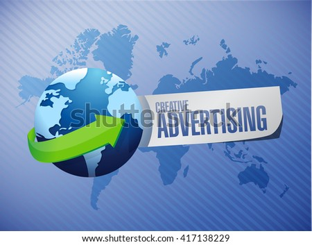 creative advertising global sign illustration concept design graphic - stock photo