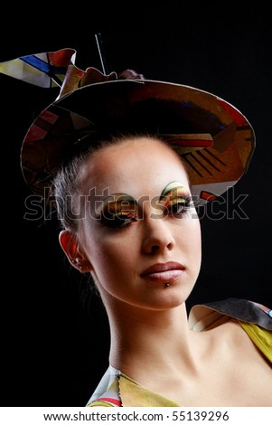 creative and attractive girl with brush - stock photo