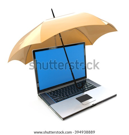 Creative antivirus security and computer data privacy and protection technology business concept: modern laptop or office notebook PC covered by yellow umbrella or parasol isolated on white background - stock photo