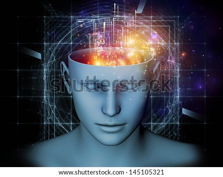 Creative arrangement of cutout of male head and symbolic elements as a concept metaphor on subject of human mind, consciousness, imagination, science and creativity - stock photo